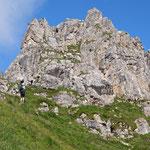 Beim Einstieg des Elferkofel-Klettersteigs.