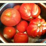 Tomaten mit heißem Wasser überbrühen.