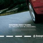 """""""An uns führt kein Weg vorbei"""" Benninghoven Asphalt Imageampagne – Motiv """"Vorsprung durch Technik""""."""