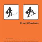 """""""we have different rules"""" hannover re Imagekampagne - Motiv """"Regel Nr. 2"""""""