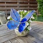 glas in lood vlinder blauw