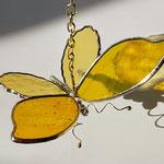 glas in lood vlinder geel