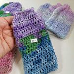Handyhüllen gehäkelt, Elastikabschluss oben, Baumwolle handmade by Anna®