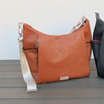 DANY Handtasche aus Kunstleder (cognac), 5 Aussentaschen davon 3 mit Reissverschluss