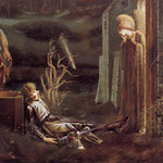 Sir Edward Burne-Jones (1833-1898), Le rêve de Lancelot (1896) - peinture