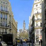 Valencia, Blick auf Rathaus. mediterrames Flair