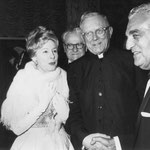 "1963 Feb.20. at the premiere of ""How The West Was Won"" with James Francis Cardinal McIntyre and Frank in the background"
