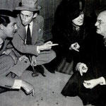 While the camera was set up for another shot, Cary Grant, Garson Kanin, Irene and Granville Bates were busy with a little game of jacks.
