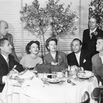 with Leonard Praskins (writer), director Arthur Lubin, Joan Evans, Leonard Goldstein, Edith Meiser and Richard Crenna on the set of 'It Grows On Trees'