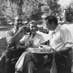 on the set with Melvyn Douglas and director Richard Boleslawski