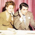 "11.16.1941 - with Cary Grant during the radio production of ""Penny Serenade"""