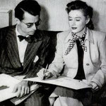 """during the production of """"I Remember Mama"""" with designer Edward Stevenson"""