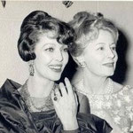 "1963 Feb.20. Irene and friend Loretta Young at the premiere of ""How The West Was Won"""