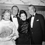 "1963 Feb.20. - with John Wayne, Rosalind Russell and James Stewart at the premiere of ""How The West Was Won"""