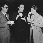 on set with director Leo McCarey and Charles Boyer