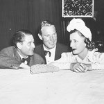 "05.02.1940 chatting with Leo McCarey and Randoplh Scott at the world premiere of ""My Favorite Wife"""