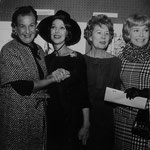 "1964 with Binnie Barnes, Loretta Young and Jane Wyman at an exhibition of water color sketches of artist Doug Kingman for Columbia's production of ""King Rat."""