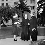 04.15.1951 with Sister Ann Raymond and Reverend James Francis McIntyre