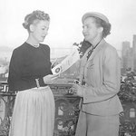 """with Mrs. Hans Klussmann; Irene was in San Francisco for the filming of """"I Remember Mama"""""""