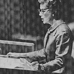 1957 - delivering a speech at the United Nations