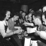 1943 signing autographs with Hedy Lamarr at The Hollywood Canteen