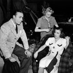 on set with Charles Boyer