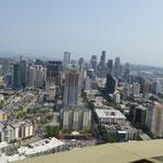 Blick von oben Richtung Downtown.....