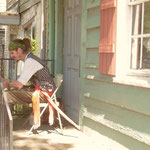 Das Piratenhaus in Savannah wird von einem Piraten bewacht