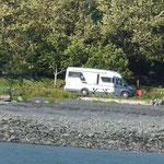 unser Standplatz direkt am Fjord