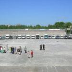 Gruppenbild: Womo's im Eisstadion von Nizhniy Novgorod