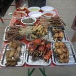und am Abend chinesische Grillspiesse