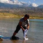 und gewaschen wird im Bergsee – hier haben wir aber auch gebadet