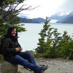 Grey- Gletscher und See mit Schneebergen und Besuch aus der Schweiz