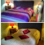 Chambre colorée grand lit