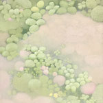 風またたく panel,japanese paper,oil,soil 33.5×24cm