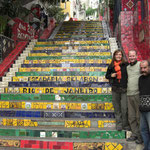With the artist of Rio's famous Lapa stairs