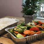 Légumes frais sautés et riz