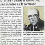 « En arrivant d'Italie, la famille Gide s'est installée sur la commune », Midi-Libre - août 2013