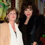 JOAN WITH PAULINE COLLINS AT A PERFORMANCE OF FROM HERE TO ETERNITY SHAFTSBURY THEATRE LONDON . DECEMBER 5TH 2013