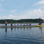 Dragonboat on the Alster Lake in Hamburg