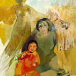 Rita mit ihren Enkelinnen (Athene im Hintergrund), Eitempera auf Leinwand, 100/70 cm, ca. 2004 und 2010