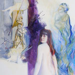 Viola,  (mit Aphodite, Jeanne d'Arc, Hörner von Steinbock), Acryl auf Leinwand, 70/50 cm, ca. 2005