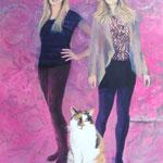 Schwestern mit ihrer Katze, Acryl auf Leinwand, 70/50 cm, 2013