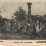 Розвалений будинок в Gelsendorf. Destroyed farms in Gelsendorf.  World War I