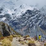 Blick auf das Mount Sefton Bergmassiv vom Kea Point aus