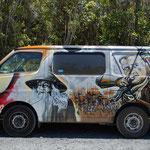 Wohnmobil auf dem Parkplatz vom Tangoriro Crossing mit guter Bemalung