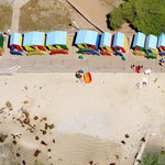 Hubschrauberüberflug über den Strand von St. James, bei Muizenberg