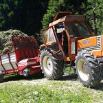 Traktor mit Heu auf der Pafletsch Alm