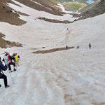 Schneefeld im Abstieg von der Glekspitze - glaubt mir, es ist steiler als es aussieht