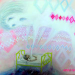 「幽体離脱」 2012 727×910mm 紙に水彩、アクリル